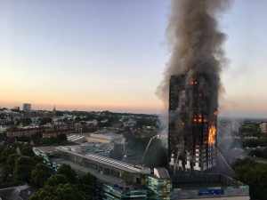 Grenfell Tower burns in London, England,